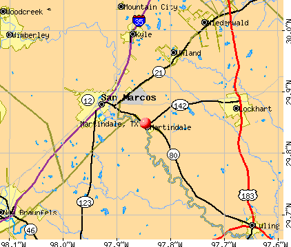 Martindale, TX map