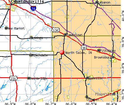 North Salem, IN map