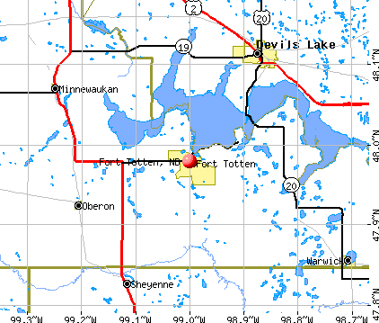 Fort Totten, ND map