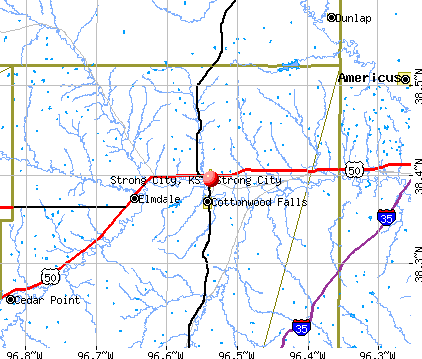 Strong City, KS map