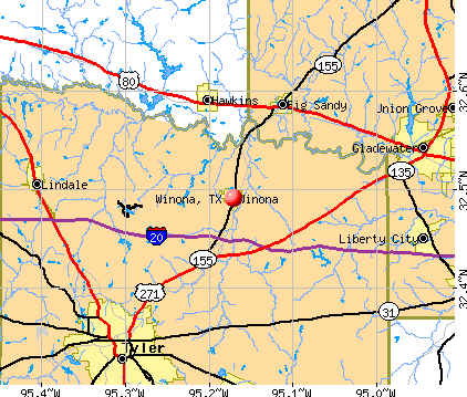 Winona, TX map