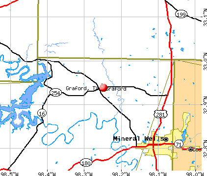 Graford, TX map