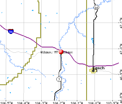 Wibaux, MT map