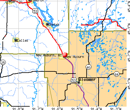 New Auburn, WI map