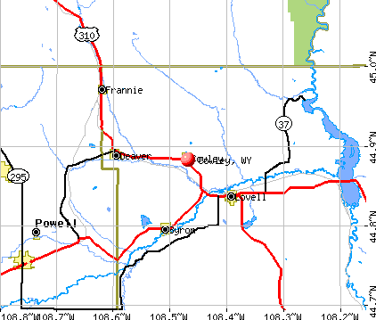 Cowley, WY map