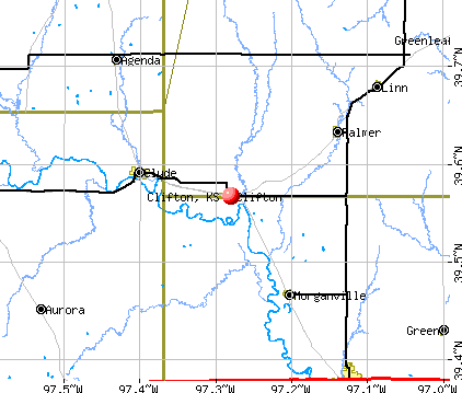 Clifton, KS map