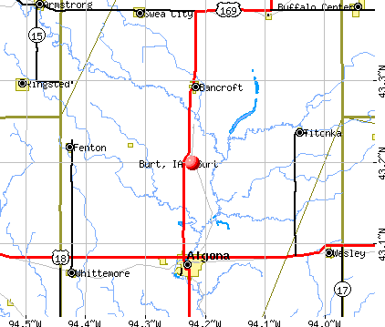 Burt, IA map