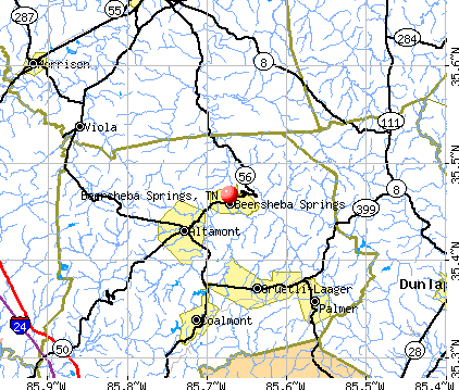 Beersheba Springs, TN map