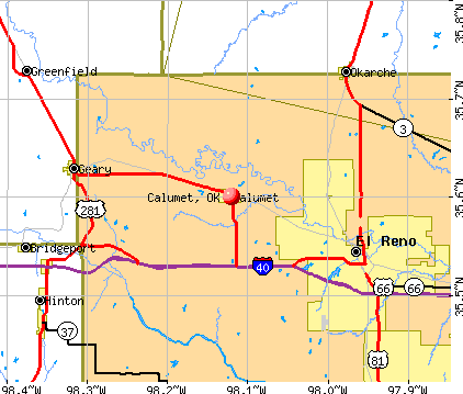 Calumet, OK map