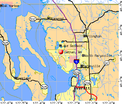 Cathan, WA map