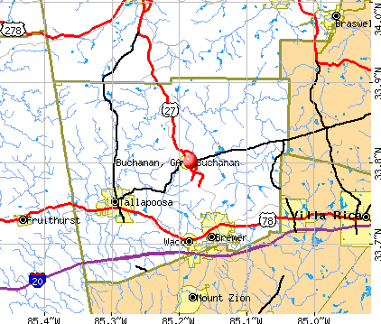 Buchanan, GA map