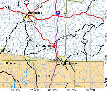 Elkton, TN map