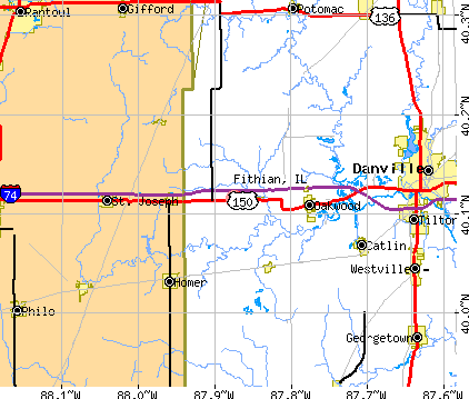 Fithian, IL map