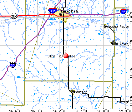 Olpe, KS map