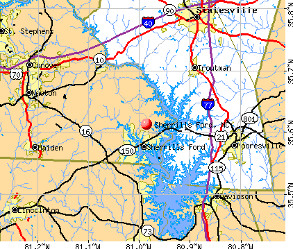 Sherrills Ford, NC map