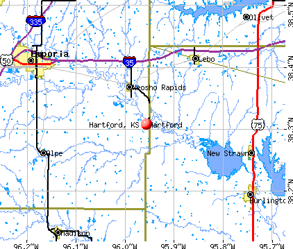 Hartford, KS map