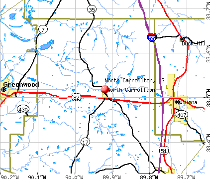 North Carrollton, MS map
