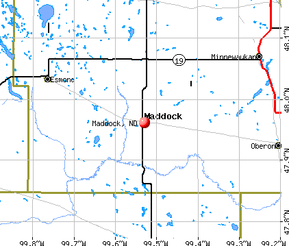 Maddock, ND map