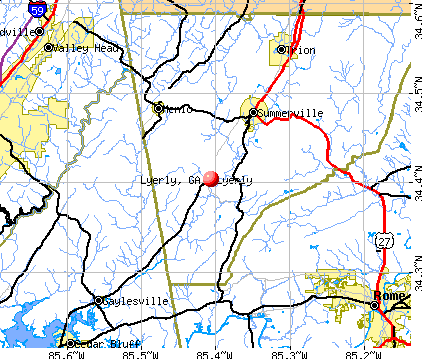 Lyerly, GA map