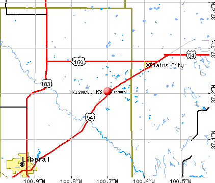 Kismet, KS map