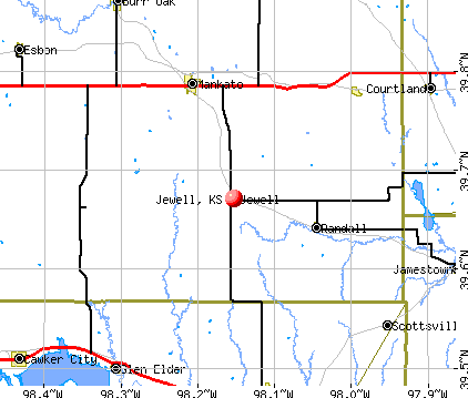 Jewell, KS map