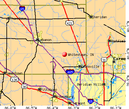 Whitestown, IN map