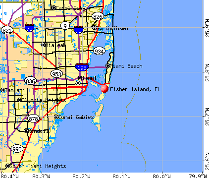 Fisher Island, FL map
