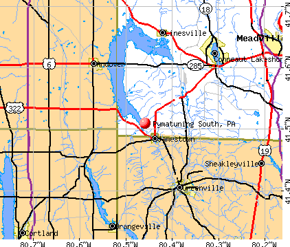 Pymatuning South, PA map