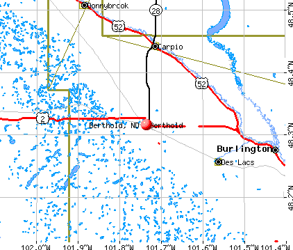 Berthold, ND map