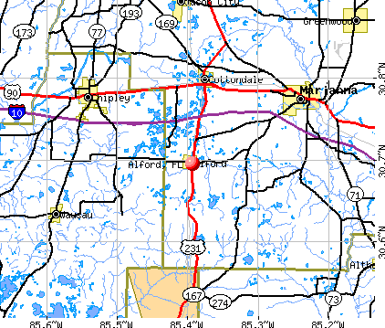 Alford, FL map