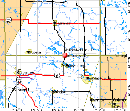 Wolcottville, IN map