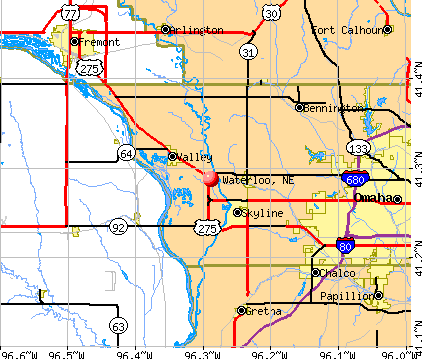 Waterloo, NE map