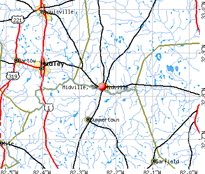 Midville, GA map