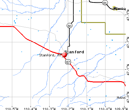 Stanford, MT map