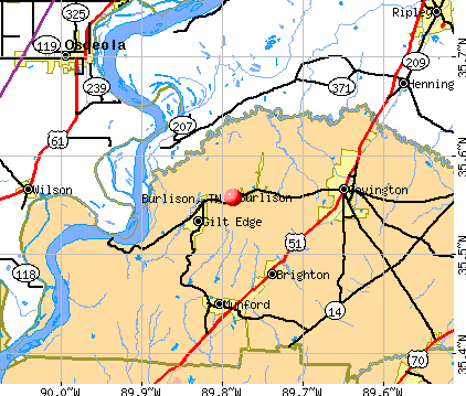 Burlison, TN map