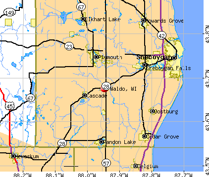 Waldo, WI map