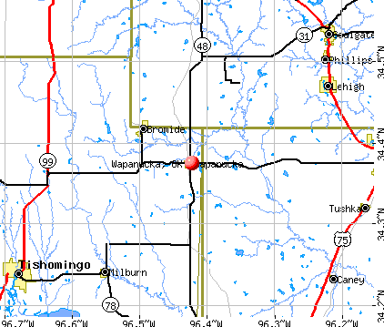 Wapanucka, OK map