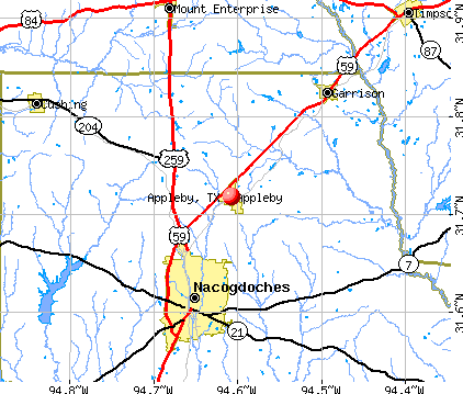 Appleby, TX map