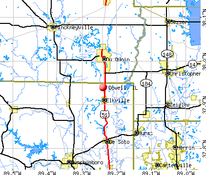 Dowell, IL map