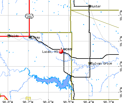 Lucas, KS map