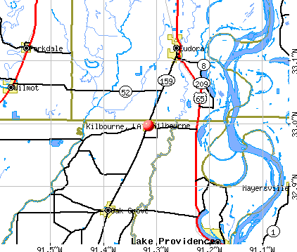 Kilbourne, LA map