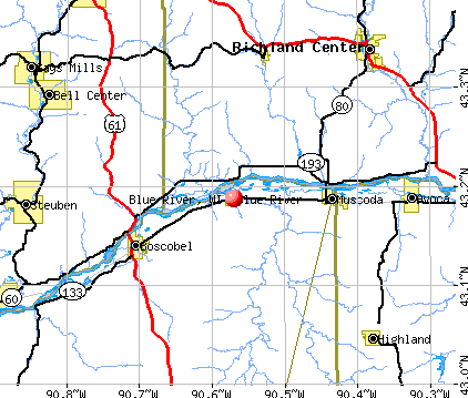 Blue River, WI map
