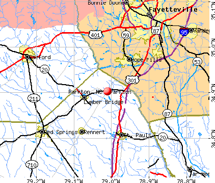 Parkton, NC map