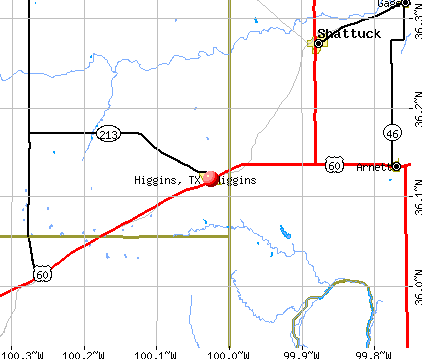 Higgins, TX map