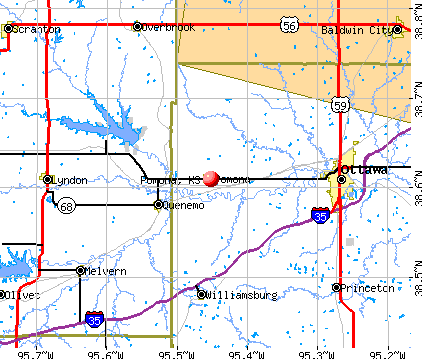 Pomona, KS map