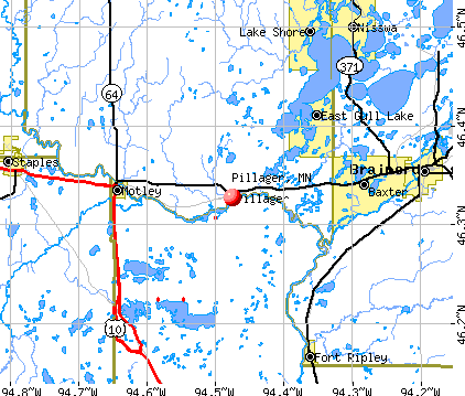 Pillager, MN map