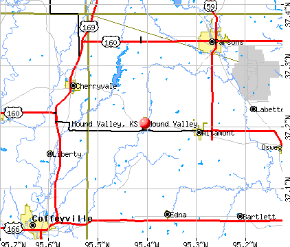 Mound Valley, KS map