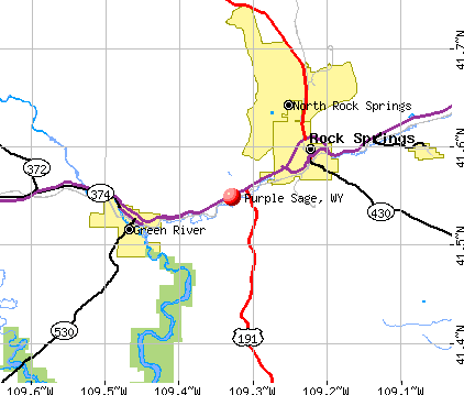 Purple Sage, WY map