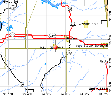 Oaks, OK map