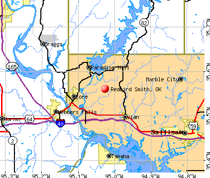 Redbird Smith, OK map